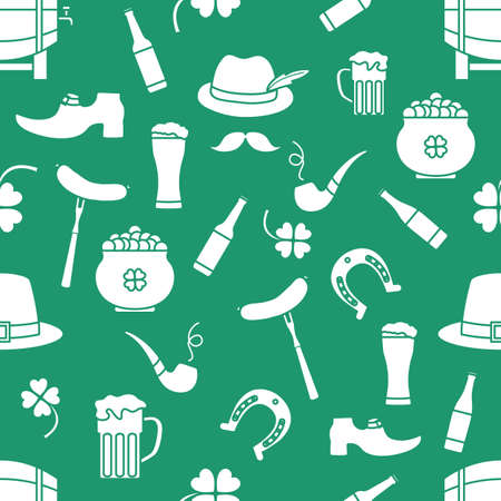 Irish Vector seamless pattern Happy St. Patrick's Day illustration