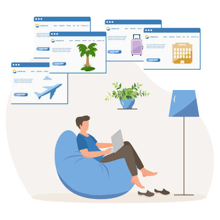Vector illustration People book vacation on laptop. Travel or journey planning. Plan holiday route. Online concept. Internet e-commerce, travel technology.