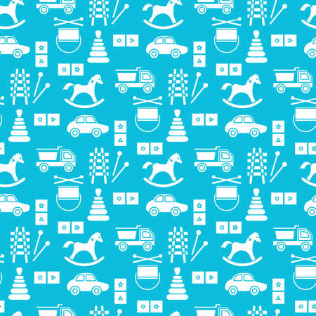 Vector seamless pattern Kid toys illustration