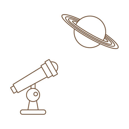 Simple Vector illustration with telescope, planet. Space exploration. Astronomy concept. Science discovery. Galaxy. Universe. Design for app, web, print Stock Illustratie