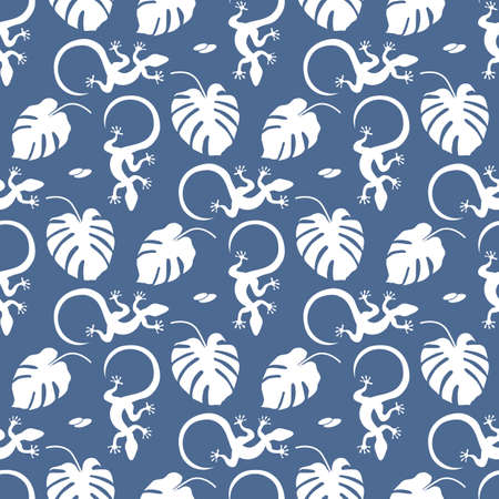 Vector Tropical seamless pattern Illustration Monstera leaves, lizard. Tropical plants Jungle wildlife. Animal. Exotic. Summer background. Stock Illustratie