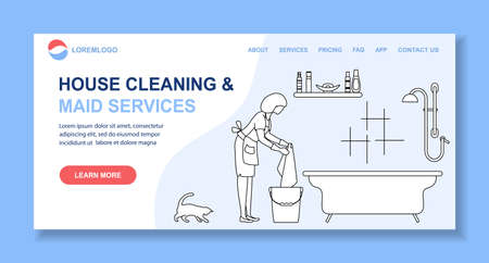 Vector illustration Apartment House Cleaning Maid service Woman cleans, washes floor bathroom. Professional hygiene service for domestic household chores Housekeeping business. Stock Illustratie
