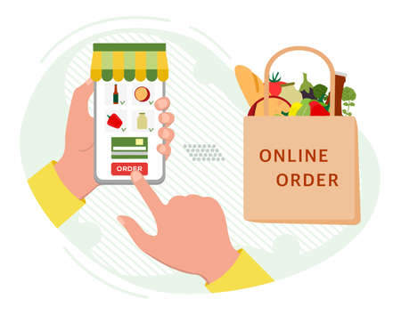 Vector illustration Online Grocery store. Ordering food in application on cell phone. Contactless delivery of products.