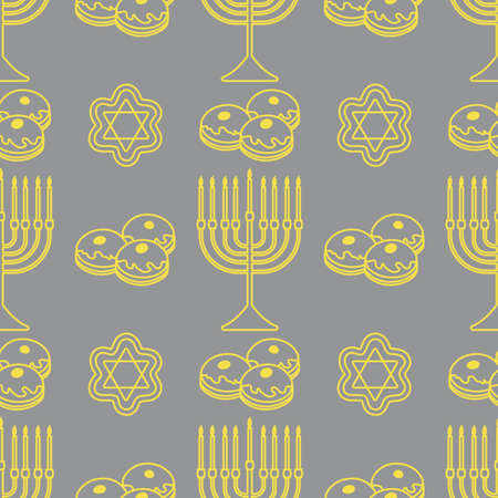 Happy Hanukkah. Jewish holiday Vector seamless pattern with traditional Chanukah symbols Menorah candles, donuts, cookies on the white background.