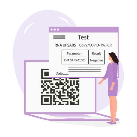 Vector illustration 2021 People Negative coronavirus test result on laptop New normal after COVID-19 pandemic Test for virus infection Immunity Health Passport QR code. Medicine Design for web, print