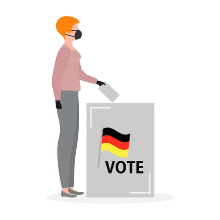 Voting Vector illustration Election day People in medical mask throw ballot into ballot box. People give their vote for candidate. Germany Political campaigning Supporters of Party Election campaign