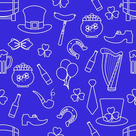 Irish Vector seamless pattern Happy St. Patrick's Day illustration Ireland Shamrock Horseshoe Smoking pipe Beer Leprechaun's shoe Sausage Pot of gold Hat Tie Balloons Harp Holiday Party Festive Design
