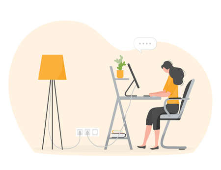 Vector illustration Remote work Girl works, talking in team chat at computer. Coronavirus COVID-19 Office at home Remote access Freelance Working remotely Studying Online concept Design for web print Stock Illustratie