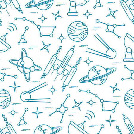 Seamless pattern Vector Illustration Planet Saturn Galaxy constellations Orbital station Radar Space exploration. Astronomy concept Spaceship in universe. Science Huge space Design for app, web, print