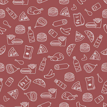 Vector Food Seamless pattern Illustration Cooking Fast food Snack Picnic Harmful eating habits Unhealthy lifestyle Sausage Hamburger Cheese Pizza French fries Chips Hotdog Ham Chicken Design for print Stock Illustratie