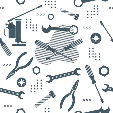Vector seamless pattern Illustration Construction tools. Repair background. Pliers for gripping and manipulating, wrench, screwdriver, bolt, washer, nut, jack. Building. Design for poster or print