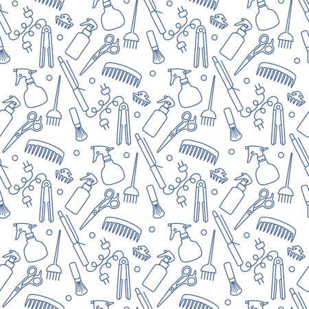 Vector Seamless pattern Illustration Professional hairdresser tools Barbershop Beauty Hairdressing salon Glamor fashion vogue style Comb, hair straighteners, curling tongs, scissors Design for print