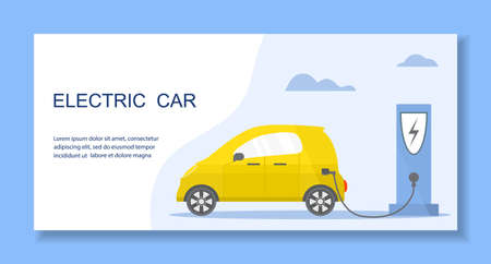 Vector illustration Electric car. Green energy. New transport eco technologies. ECO friendly. Ecology. Environmental Protection. Zero emission. Easy maintenance. Design for web, landing page, print Stock Illustratie