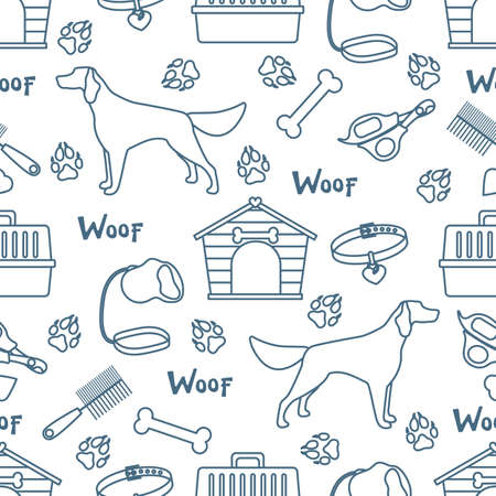 Vector seamless pattern illustration Dog, doghouse, paw tracks, bone, collar, comb, scissors, carrying, leash Woof. Animal background Pet shop, vet clinic, shelter concept Design for fabric, print Stock Illustratie