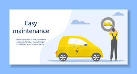 Vector illustration Repair, service, maintenance of electric car. Green energy. New transport eco technologies. ECO friendly. Environmental Protection. Zero emission. Design for web, print Stock Illustratie