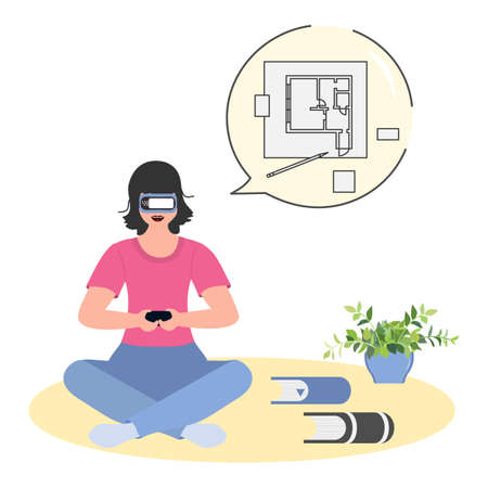 Vector Illustration Woman wearing virtual reality 3d glasses VR headset. Property virtual reality simulation. Real estate virtual tour, interior design. Augmented reality visualize creation concept.