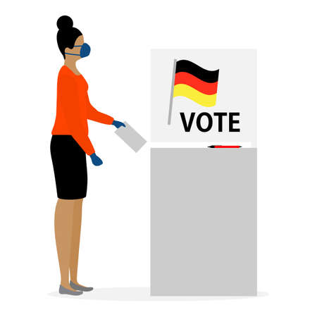 Voting illustration Election day People in protective medical mask vote in voting booth People give their vote for a candidate. Stock Illustratie