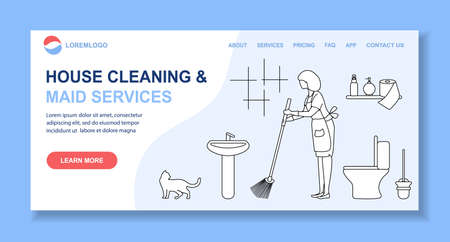 Vector illustration Apartment House Cleaning Maid service Woman cleans, sweeps in lavatory. Professional hygiene service for domestic household chores. Housekeeping business Design Website App Print