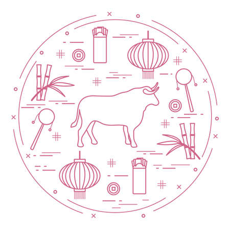 Happy New Year Vector illustration ox, bamboo, Chinese lantern, coin for luck, envelope, rattle drum. Holiday traditions, symbols Chinese New Year celebration. Bull zodiac sign, symbol of 2021 year Stock Illustratie