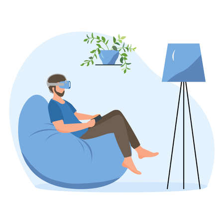 Vector Illustration Man wearing virtual reality 3d glasses Gaming, Travel, holiday trip, tour, watching movie VR headset Property VR simulation Modern entertainment Augmented reality visualize creation