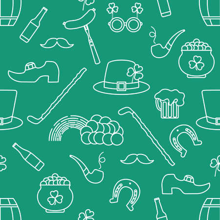 Irish Vector seamless pattern Happy St. Patrick's Day illustration Shamrock Horseshoe Smoking pipe Beer Leprechaun's shoe Sausage Pot of gold Rainbow Mustache Hat, walking stick Holiday Party Festive 向量圖像