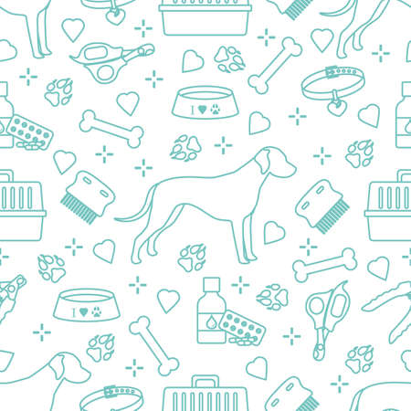 Vector seamless pattern illustration Dog, paw tracks, bone, bowl, collar, comb, medicines, scissors, clippers. Animal background. Pet shop, veterinary clinic, shelter concept Design for fabric, print