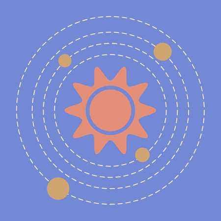 Simple Vector Illustration Solar system. Planets, Sun. Space exploration. Planets revolve around the star. Astronomy concept. Galaxy. Universe. Science. Planetary model. Design for app, web, print Stock Illustratie