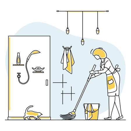 Vector illustration Apartment House Cleaning Maid service Woman cleans, sweeps bathroom. Professional hygiene service for domestic household chores. Housekeeping business Design for website app print