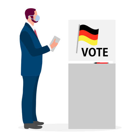 Voting Vector illustration Election day People in protective medical mask vote in voting booth People give their vote for candidate. Germany Political campaigning Supporters of Party Election campaign Stock Illustratie