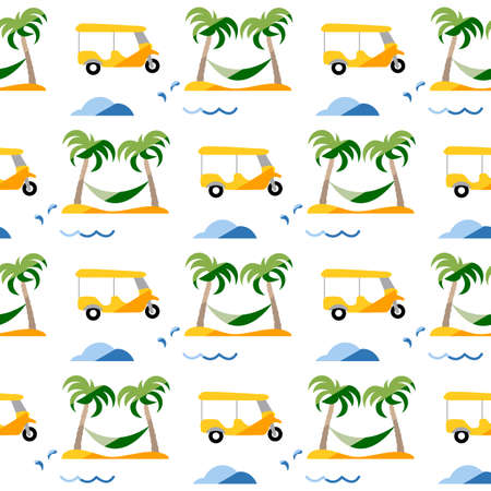 Seamless pattern. Travel vector illustration. Vacation at sea. Summer rest. Holiday. Adventure. Cruise. Tuk-tuk, palm tree, hammock. Design for print