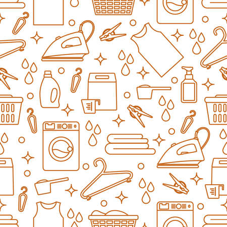 Vector Seamless pattern Illustration Laundry Cleaning service Washing machine, laundry basket, detergents, iron, clothespins, hanger, linen.