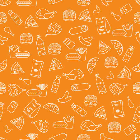 Vector Food Seamless pattern Illustration Cooking Fast food Snack Picnic Harmful eating habits Unhealthy lifestyle Sausage Hamburger Cheese Pizza French fries Chips Hotdog Ham Chicken Design for print Иллюстрация