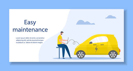 Vector illustration Repair, service, maintenance of electric car. Green energy. New transport eco technologies. ECO friendly. Environmental Protection. Zero emission. Design for web, print Иллюстрация