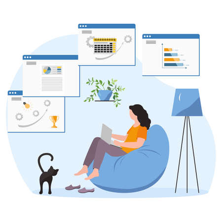 Vector illustration Remote work People work at laptop. Coronavirus COVID-19 Office at home Remote access Freelance Working remotely Studying Online concept Design for web print 向量圖像