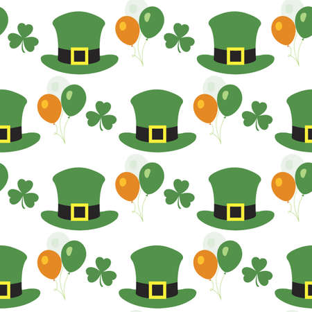 Vector seamless pattern Happy St. Patrick's Day illustration Ireland Shamrock Hat Balloon Irish Holiday Party Festive background Design for greeting card, fabric, print, wrapping paper Иллюстрация