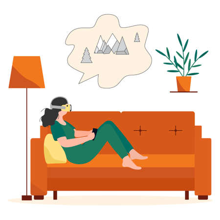 Vector Illustration Woman wearing virtual reality 3d glasses Plan travel to mountains, watching movie about nature. VR headset. Property augmented reality simulation. Modern entertainment. Visualize Иллюстрация