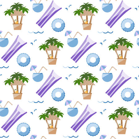 Vector seamless pattern Illustration Vacation at sea. Cocktail, inflatable mattress, ring, palm trees, beach bar. Travel. Summer rest. Water floating toys. Pool equipment. Rubber items for recreation