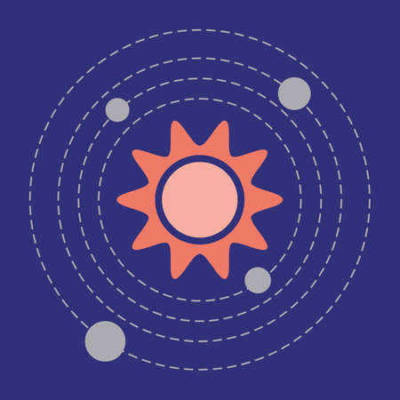 Simple Vector Illustration Solar system. Planets, Sun. Space exploration. Planets revolve around the star. Astronomy concept. Galaxy. Universe. Science. Planetary model. Design for app, web, print Иллюстрация