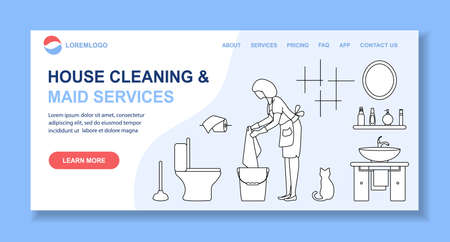 Vector illustration Apartment House Cleaning Maid service Woman cleans, washes floor in lavatory. Professional hygiene service domestic household chores. Housekeeping business Design Website App Print