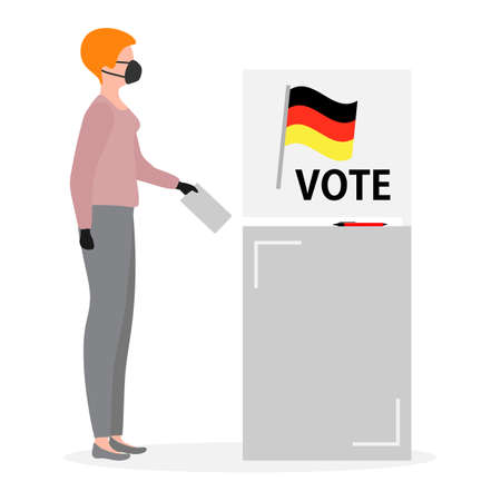 Voting Vector illustration Election day People in protective medical mask vote in voting booth People give their vote for candidate. Germany Political campaigning Supporters of Party Election campaign Иллюстрация