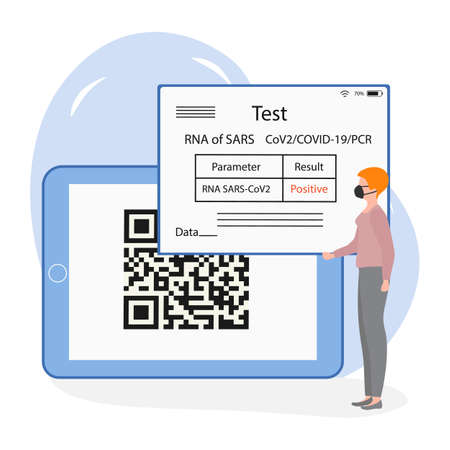 Vector illustration 2021 People Positive coronavirus test result on device New normal after COVID-19 pandemic Test for virus infection Immunity Health Passport QR code Medicine Design for web, print 向量圖像