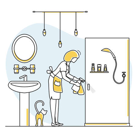 Vector illustration Apartment House Cleaning Maid service Woman washing plumbing in bathroom. Professional hygiene service for domestic household chores. Housekeeping business Design Website App Print Иллюстрация