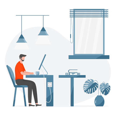 Vector illustration Remote work Girl works, talking in team chat at computer. Coronavirus COVID-19 Office at home Remote access Freelance Working remotely Studying Online concept Design for web print Иллюстрация