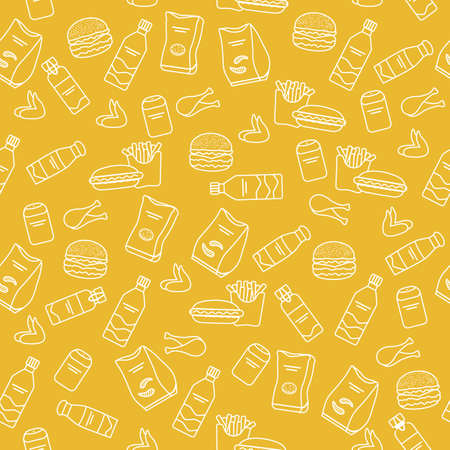 Vector Food Seamless pattern Illustration Cooking Fast food Snack Picnic Harmful eating habits Unhealthy lifestyle Hamburger French fries Chips Hotdog Chicken Design for textile, wrapping, print