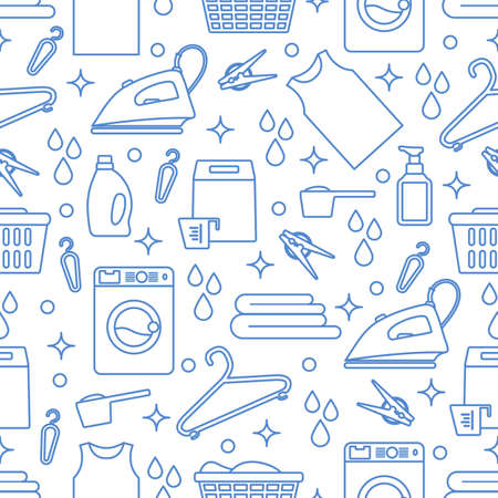 Vector Seamless pattern Illustration Laundry Cleaning service Washing machine, laundry basket, detergents, iron, clothespins, hanger, linen. Domestic household chores Laundromat tasks Design for print