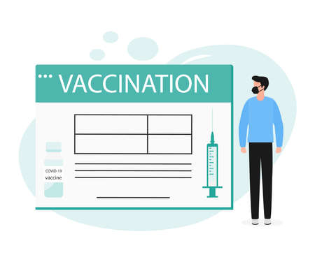 Vector illustration People Syringe Vaccine Immunization Adult Vaccination calendar Vaccination information Healthcare Public health program Medical support service Design for web app print Иллюстрация