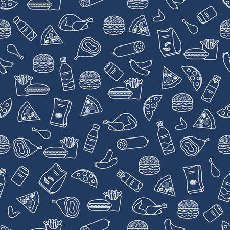 Vector Food Seamless pattern Illustration Cooking Fast food Snack