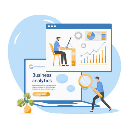 Vector illustration Investment growth, financial increase, development People Research, strategy selection, statistics, planning, marketing, the study of performance indicators Business analysis concept