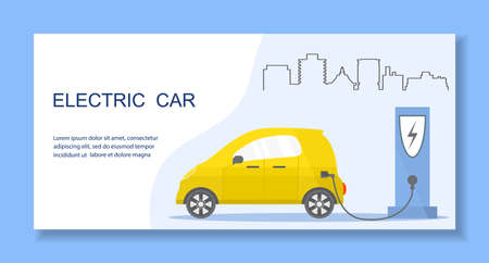 Vector illustration Electric car. Green energy. New transport eco technologies. ECO friendly.