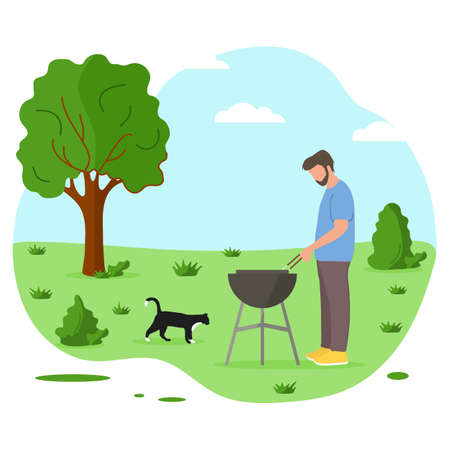 Vector illustration Male preparing barbecue outdoors for friends, family. BBQ party background. Picnic outdoors. Enjoyment barbecue time in the nature. BBQ grill. Design for print.